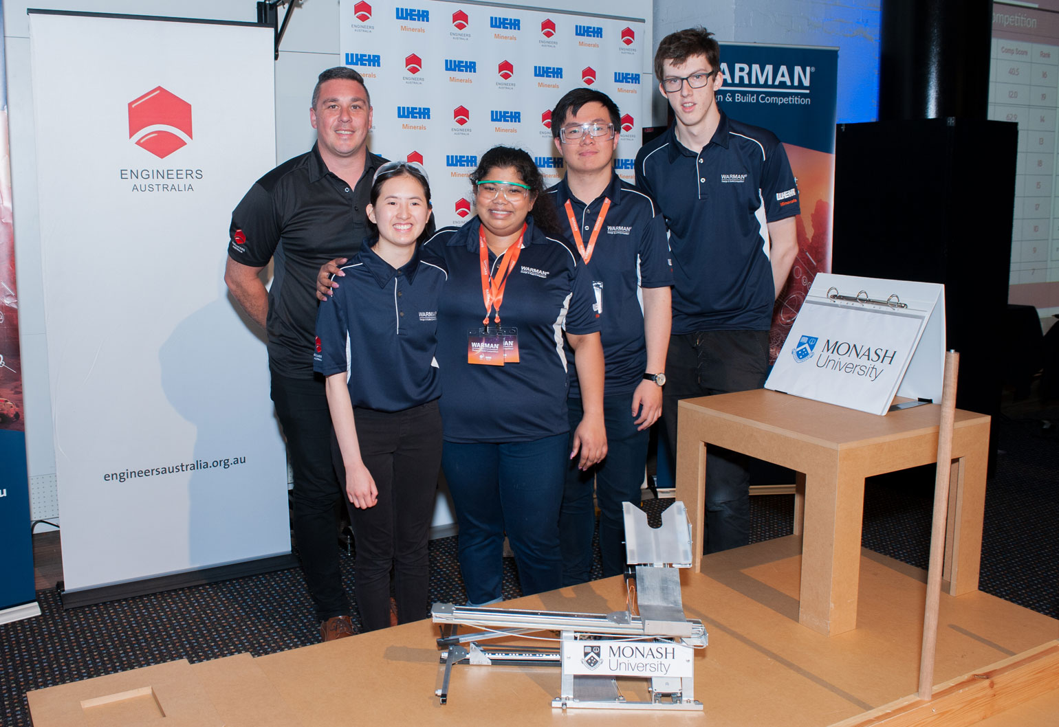 Monash University team at Warman Design and Build Competition