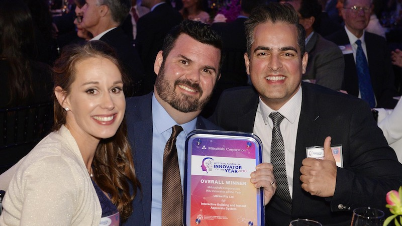 udrew's Daniela Young, Tom Young and Walid Sharif at the Western Australia Innovator of the Year awards. (Photo: udrew)