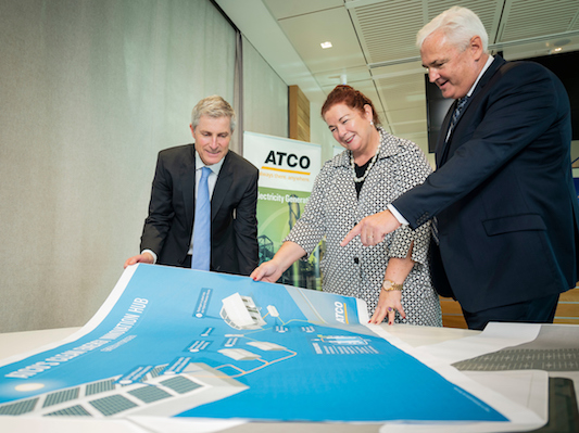 ARENA CEO Ivor Frischknecht, Assistant Minister Melissa Price, ATCO MD Pat Creaghan