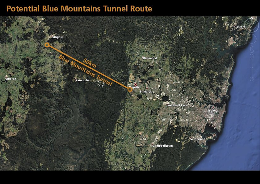 proposed route of Elon Musk's tunnel through the Blue Mountains