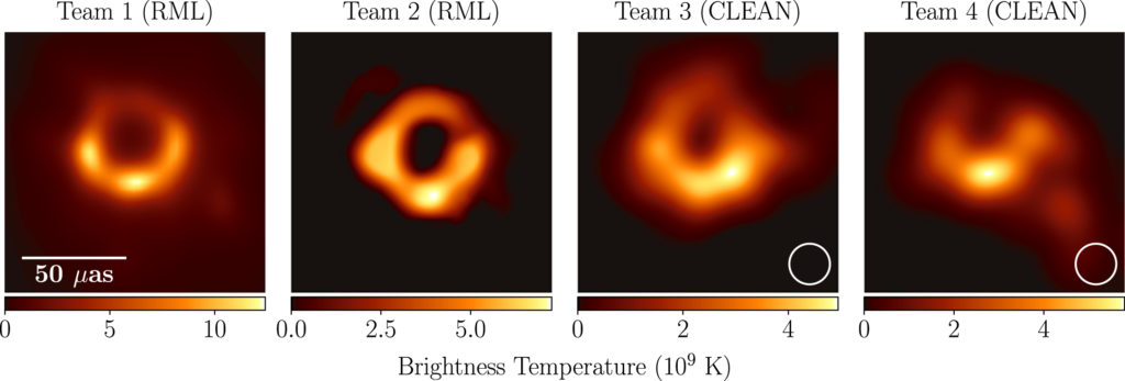 first images of a black hole using different techniques