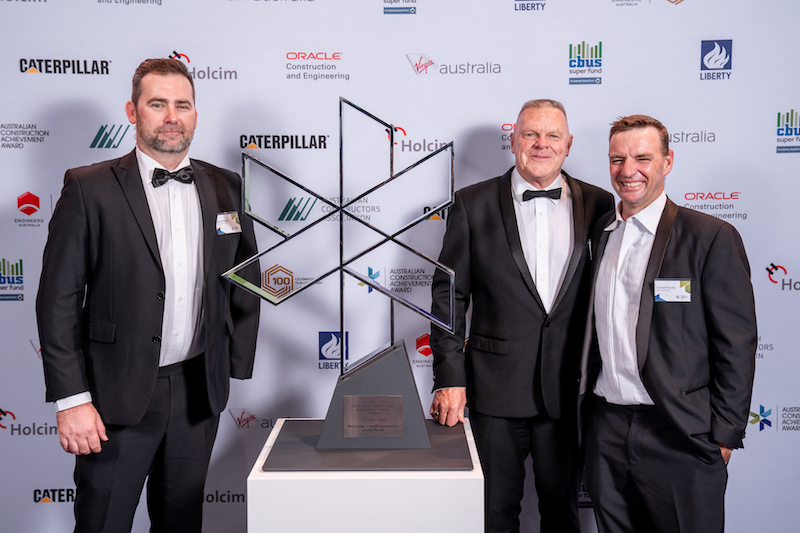 The winning McDonnell Dowell team (left to right): Steve Woods, project head Graeme Brown and Gerard Kunde