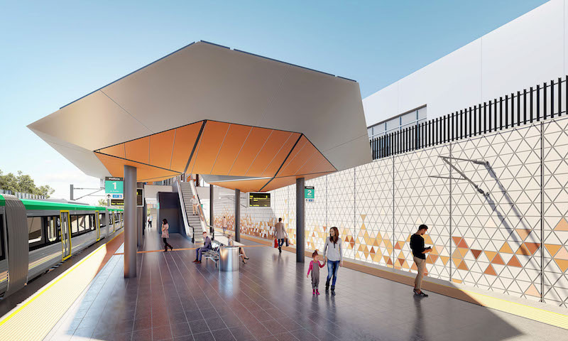 An artist's impression of a new station at Forrestfield in Perth