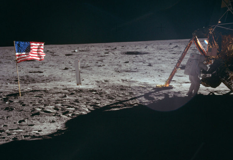 the first moon landing and moonwalk