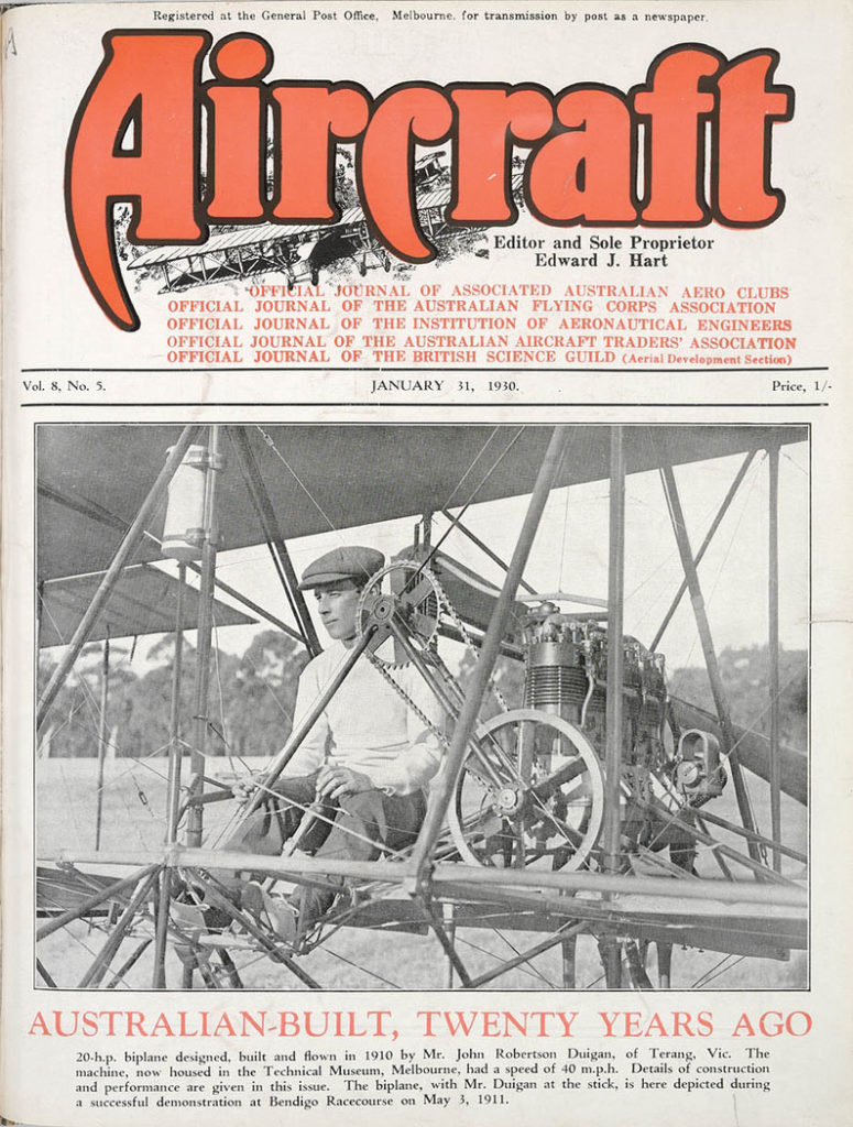 Aircraft magazine displays the Duigan biplane
