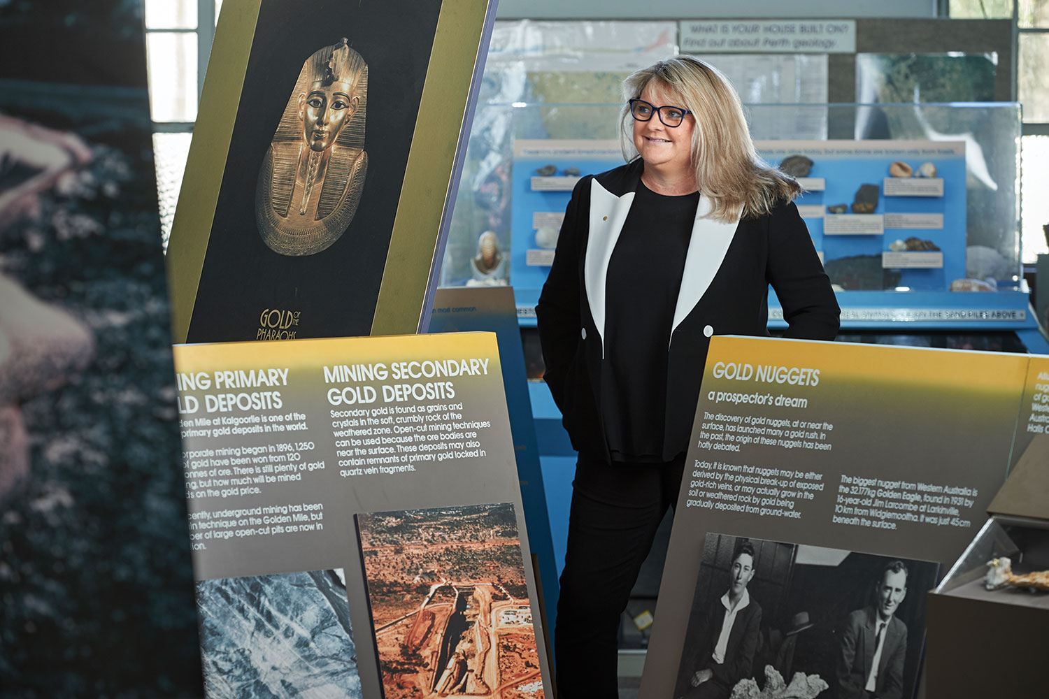 Alex Atkins in Perth's Earth Sciences Museum