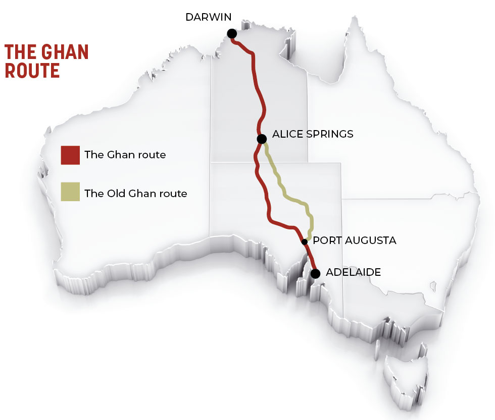Adelaide-to-Darwin railway route