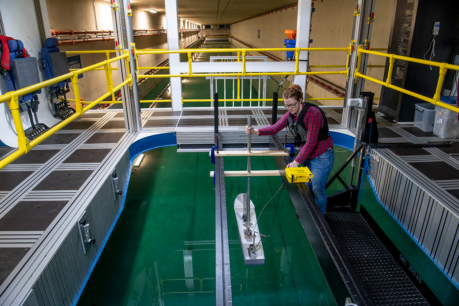 The University of Southampton's 138m towing tank is frequently used by undergraduate ship science students to explore hydrodynamics. (Image: © University of Southampton)