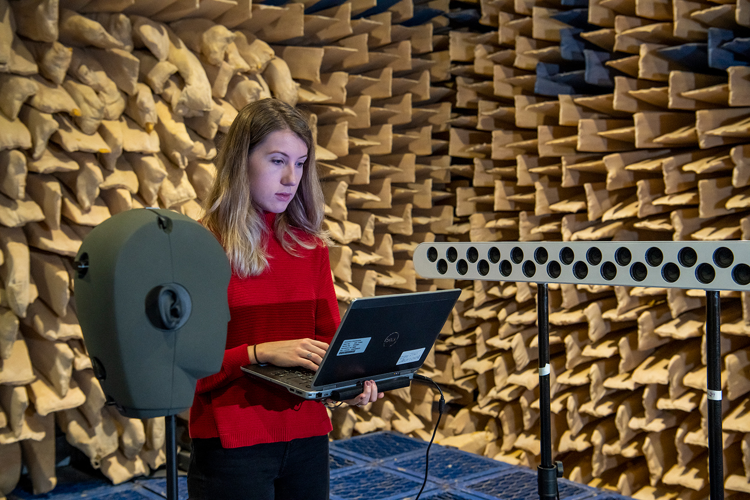 Testing a loudspeaker array in the University of Southampton's large anechoic chamber. (Image: © University of Southampton)