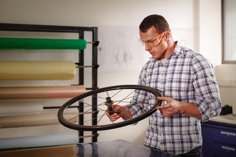 Jon Partington working with carbon fibre