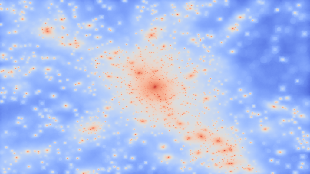 The view of a galaxy cluster with the usually invisible dark matter revealed. This view shows where the dark matter is located within the simulated cluster; each bright spot is a 'knot' of dark matter corresponding to the location of a galaxy. (Image: Chris Power, ICRAR/UWA)