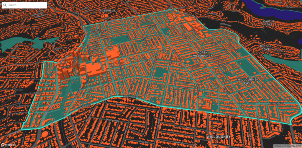 A Geoscape visualisation of Chatswood, NSW.