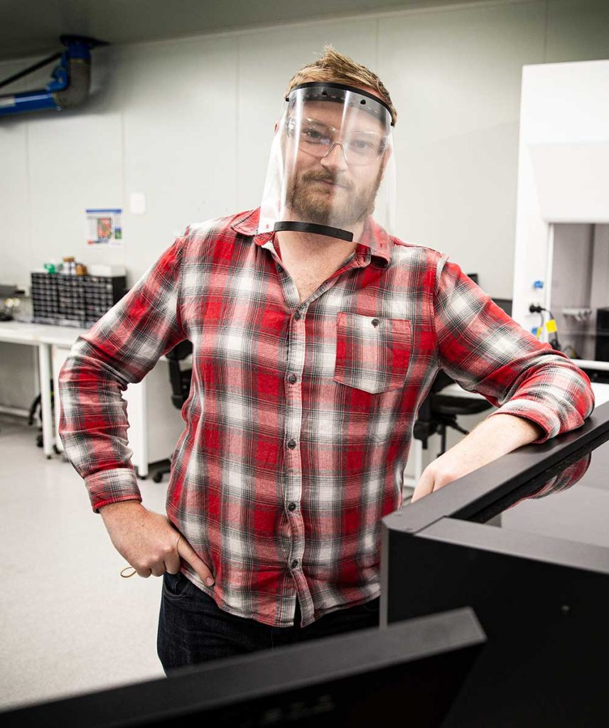 Gordon Wallace wearing a 3D-printed face shield