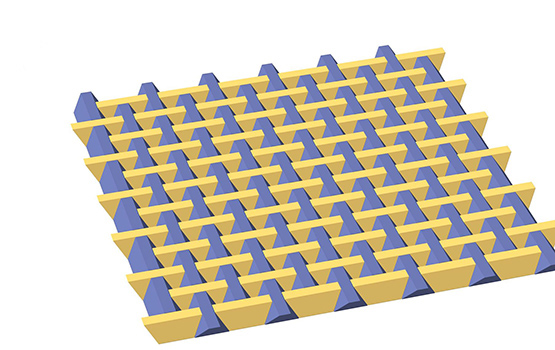 Archimats can be used in mortarless construction to create rapidly deployable pavements composed of interlocked tetrahedron-shaped blocks made from different materials. (Image: Monash University)