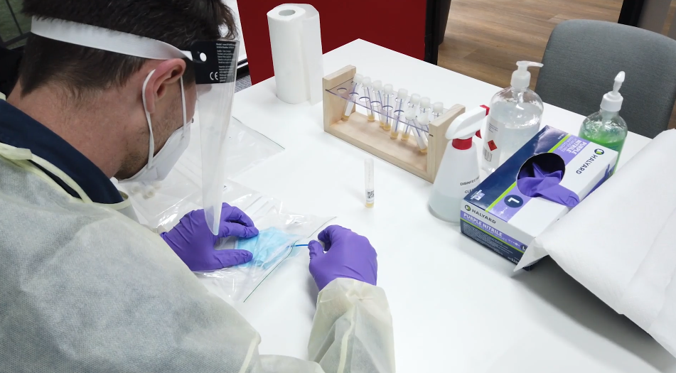 The masks are tested as 80 job lots using the standard PCR test used for COVID-19 nasal swabs.