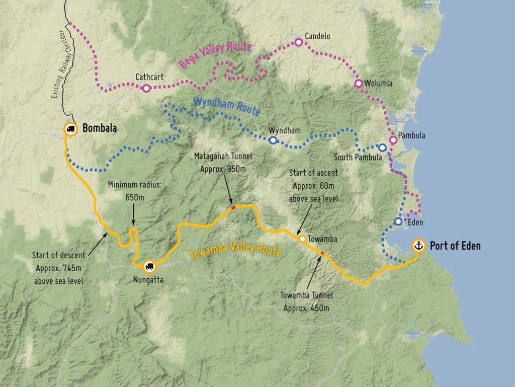 Potential options for a Canberra to Eden line.